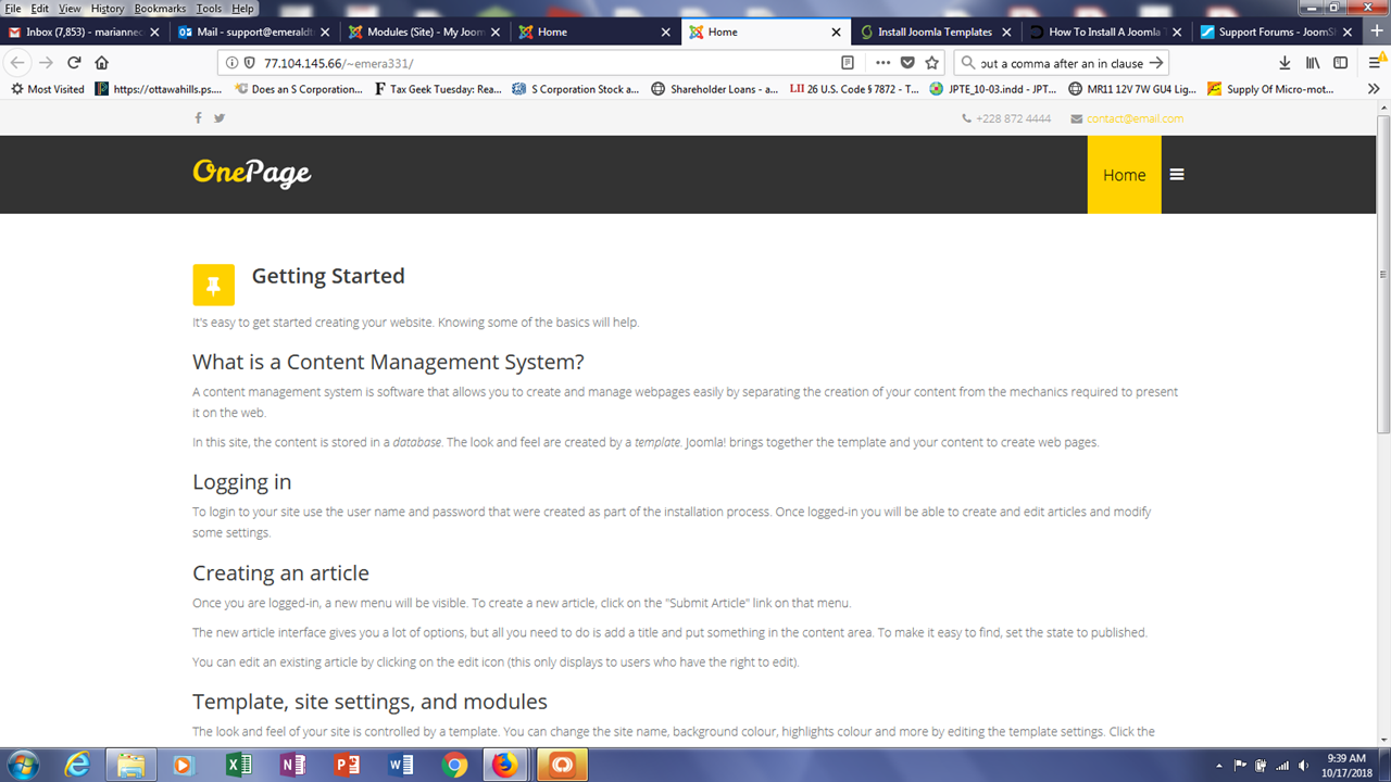 Cannot Install Onepage Template On My Website