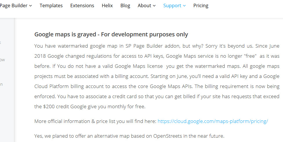 How to use Google Maps API with SP Page Builder?